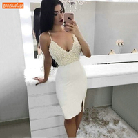 Fashion White Cocktail Dresses Short Spaghetti Strap Beaded Pearls Sexy Women Gala Formal Dress Satin Slim fit Banquet Prom Gown