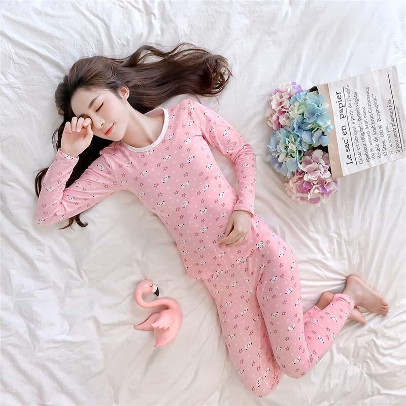 Warm Pajamas Women's Autumn & Winter Crew Neck Pullover Thermal Underwear Warm Base Homewear Set Southeast Asia