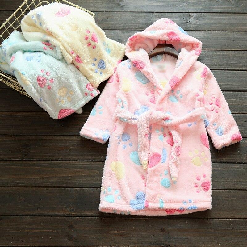 Children Flannel Bathrobe Baby Spring Autumn Winter Girls' Pajamas BOY'S Girls Coral Velvet Night-robe