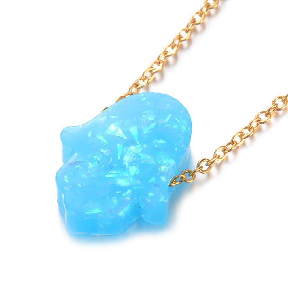 Несколько цветов Защитный амулет рука Фатимы опал камень 100% из нержавеющей стали золотое ожерелье подвеска серебряная цепочка чокер подарки Femme