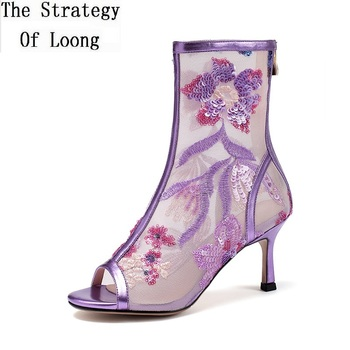 Summer New Fashion Thin High Heels Peep Toe Bling Floral Embroider Mesh Genuine Leather Women Ankle Short Boots 20210318