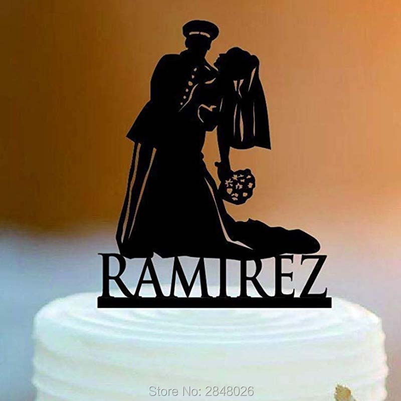 Military Solider Armed Forces Patriotic Wedding Cake Topper Personalized