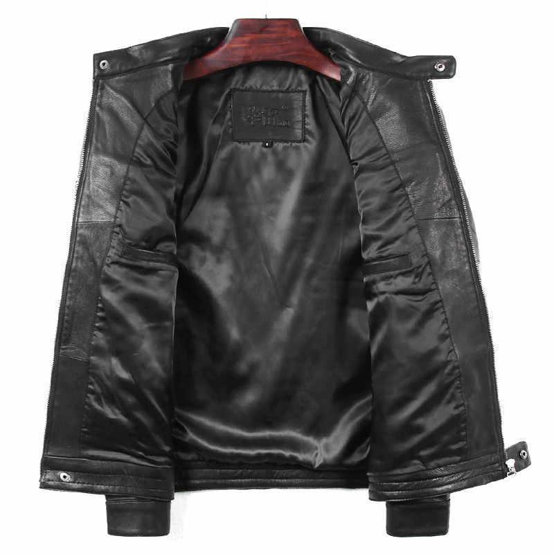高品質 Geniune 革のジャケットの男性レザージャケットショートスリムバイク用春秋 Jaqueta デ Couro HL-019 MF11