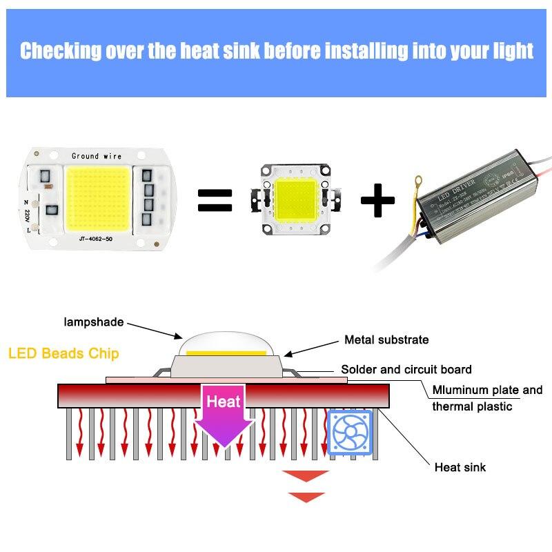 Светодиодный чип 10 Вт 20 Вт 30 Вт 50 Вт COB Чип светодиодный светильник 220 в 240 В без необходимости драйвер для прожектор светильник Точечный свет...
