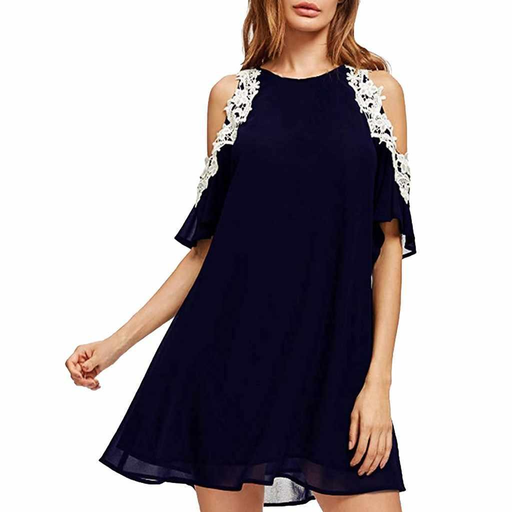 Robe De Plage Femme Ete 2020 Women S Summer Off Shoulder Pure Color Lace Sleeve Loose Beach Dress Sukienki Plazowe Jupe Plage Aliexpress