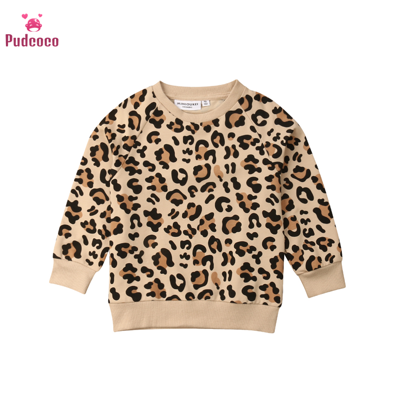 Pudcoco Autumn Winter Children Kids Boys Sweaters Baby Girl Winter Clothes Sweater Leopard Bunny Print Toddler Pulover 1-7 Years