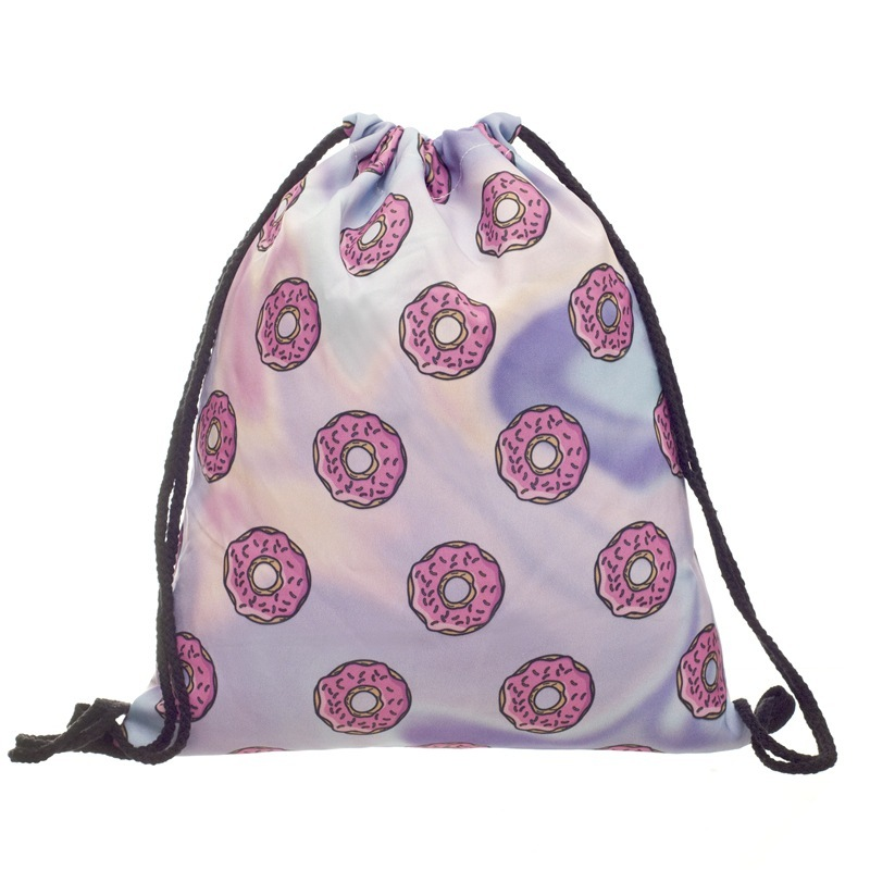 2019 New Fashion Women Doughnut Drawstring Backpack 3D Printing Travel Softback Women Mochila Drawstring Bags