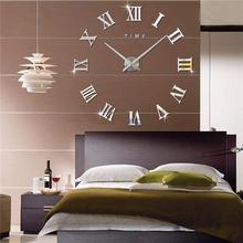 Watch Clocks Self-Adhesive Mirror Living-Room-Decor Quartz Promotion Roman Large Modern