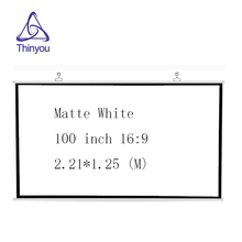 Thinyou 100 Inch 16:9 HD Projector Screen White Manual Pull Up Diagonal Aspect Ratio High-definition pantalla proyector