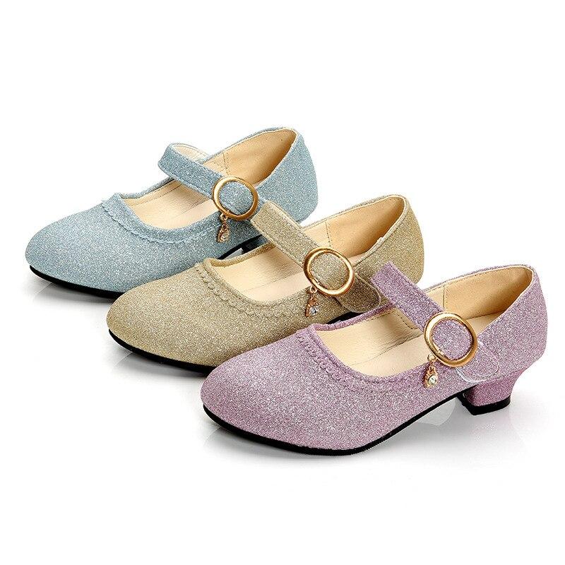 Autumn Children Shoes Girls High Heel Dance Shoes Princess Girls Glitter Leather Shoes Girls Party Dresses Wedding Sandals Shoes