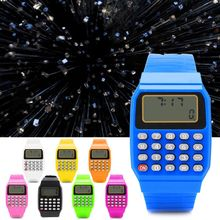 Fashion Child Kid Silicone Date Multi-Purpose Electronic Calculator Wrist Watch children kids date multi purpose calculator silicone wrist watch kids date month time display mini calculator mathematics suppl