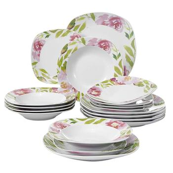 VEWEET ASHLEY 18-Piece Ivory White Porcelain Ceramic Dinnerware Tableware Set with 6*Dessert Plate,Soup Plate,Dinner Plate Set