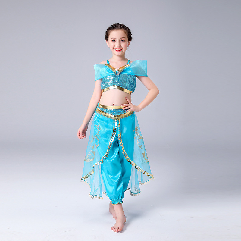 Jasmine Costume Girls Kid Summer Princess Dance Dress Aladdin's Lamp Magic Cosplay Costume Christmas Performance Top And Pant