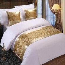 Golden floral colchas cama corredor jogar cama única rainha rei capa toalha casa decorações do hotel
