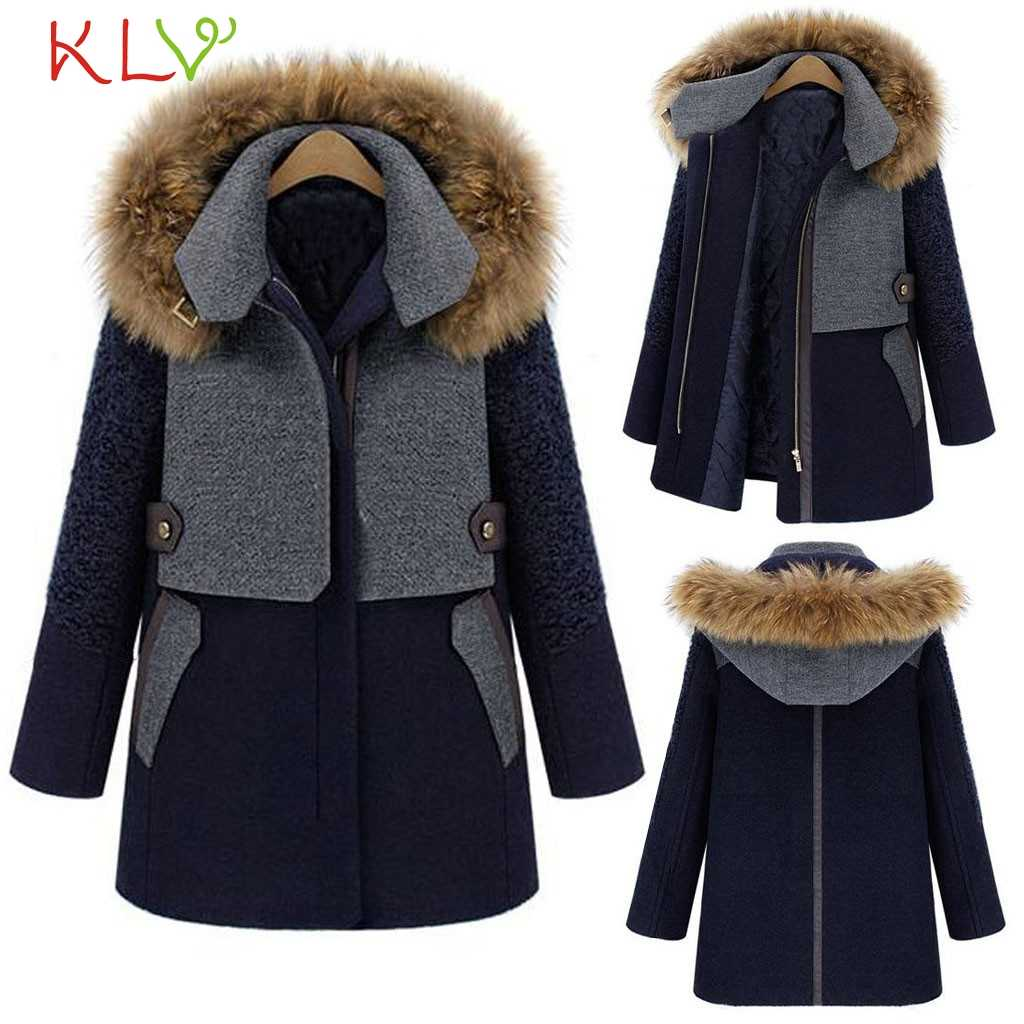 女性ジャケット厚い付きの毛皮の襟暖かいパーカーロング冬コート綿カジュアル生き抜く服プラスサイズファム 19Oct