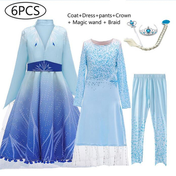 Anna Elsa 2 Dress Girls Princess Costume Cosplay Elza Carnival Birthday Party Blue Princess Dress For Kids Vestidos baby girls dress christmas anna elsa cosplay costume summer dresses girl princess elsa dress for birthday party vestidos menina