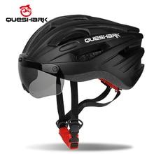 QUESHARK ветрозащитный велосипедный шлем защитные шапки для верховой езды дышащая горная дорога MTB велосипедные шлемы с очками съемные линзы