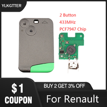 лучшая цена YLKGTTER 433 MHz 2 Button Remote Card Smart Car Key for Renault Laguna Espace Vel-Satis with DIY Uncut Key Blade &PCF7947 Chip