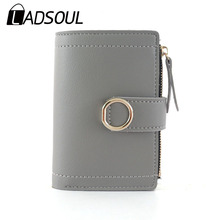 LADSOUL Women Wallets Small PU Leather Purse Solid Color Car