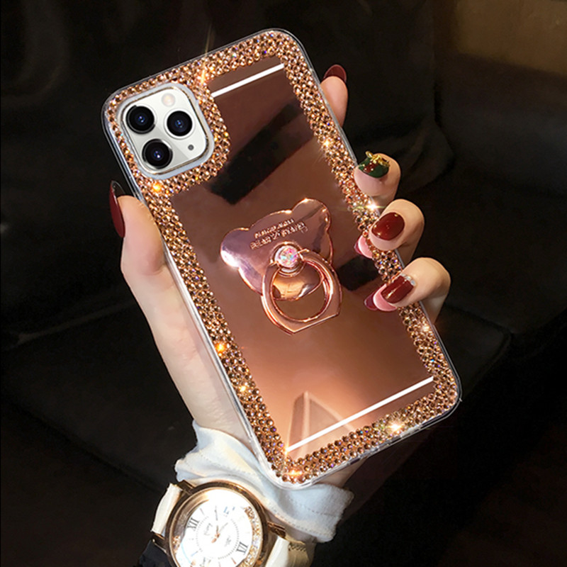 Bling Glitter Phone Case For Samsung A8 A7 A6 A5 A830 J8 J6 J4 Plus 2018 J3 J5 J7 Prime J2 Pro ON5 ON7 Mirror Ring Stand Case image