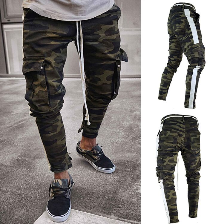 Men Multi-pockets Skinny Jeans Europe And America Side Webbing Camouflage Jeans
