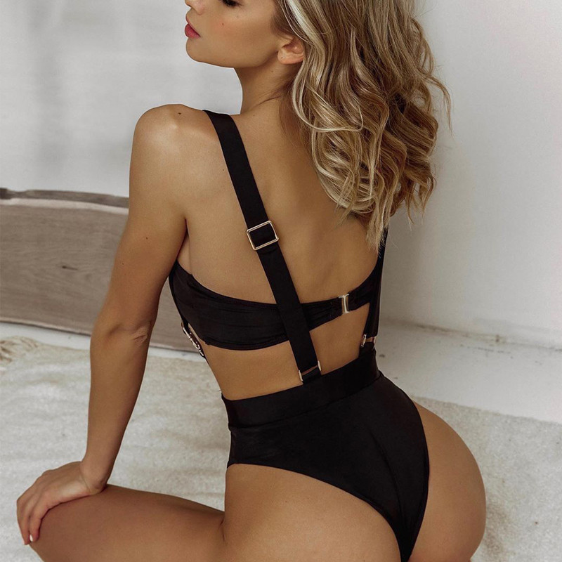 Bandeau two pieces bikini Buckle black high cut swimsuit one piece Sexy bikini 2019 swimwear women high waist bathing suit-2