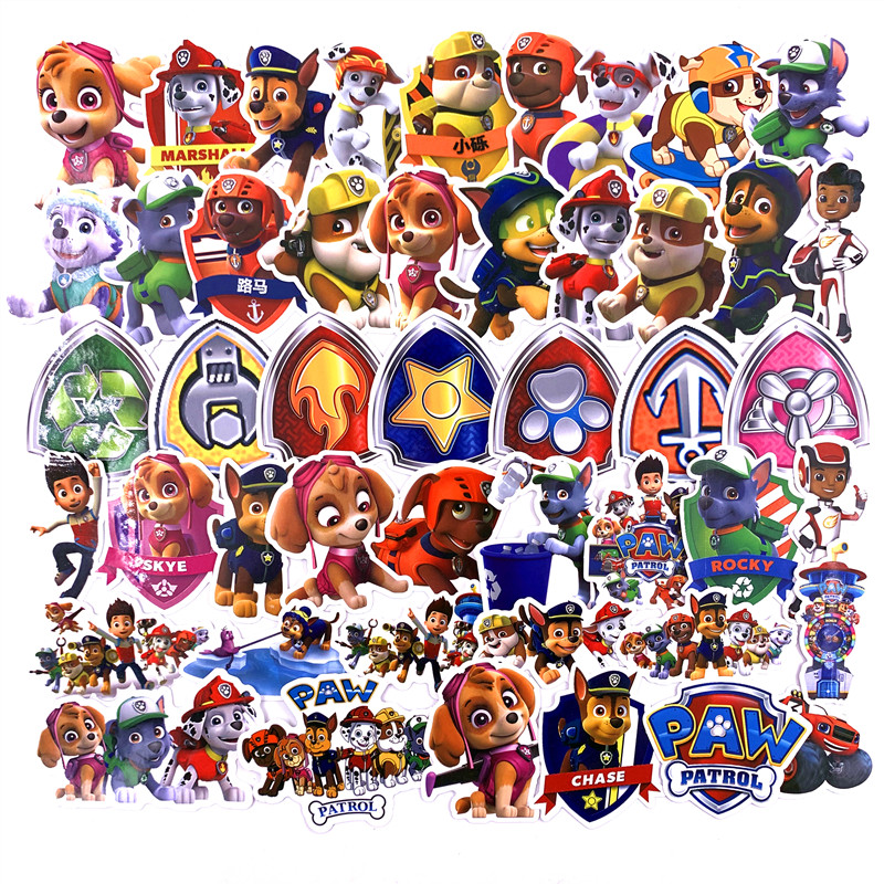 50pcs PAW Patrol Sticker Non Repeating Dog Stickers PVC Graffiti Stickers Travel Case Luggage Car Psi Patrol Stickers Waterproof