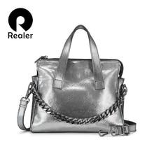 Realer genuine leather bag woman handbags female shoulder