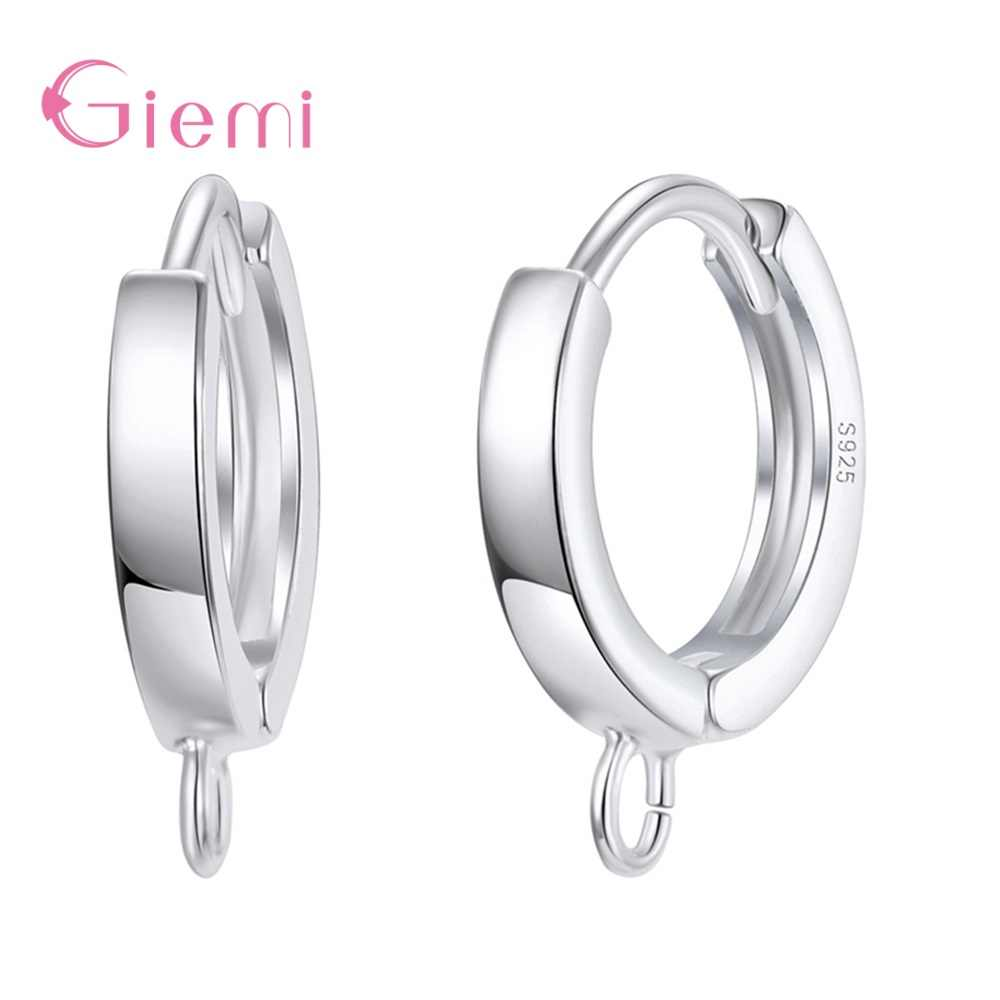 Wholesale S925 Sterling Silver Simple Shiny Findings Hoop Earrings Accessories For Girls Women Hot Sale Handmade Jewelry Gifts
