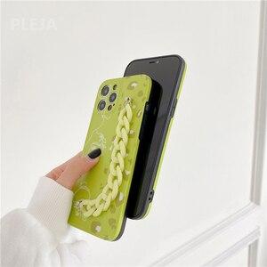 Image 4 - Thời Trang Dễ Thương Nghệ Thuật Dây Chuyền Vòng Tay Hoa Mai Dành Cho iPhone 12 11 Pro Max 7 8 Plus SE 2020 X XR XS Max Bìa Mềm Xanh Tươi Mát Trường Hợp