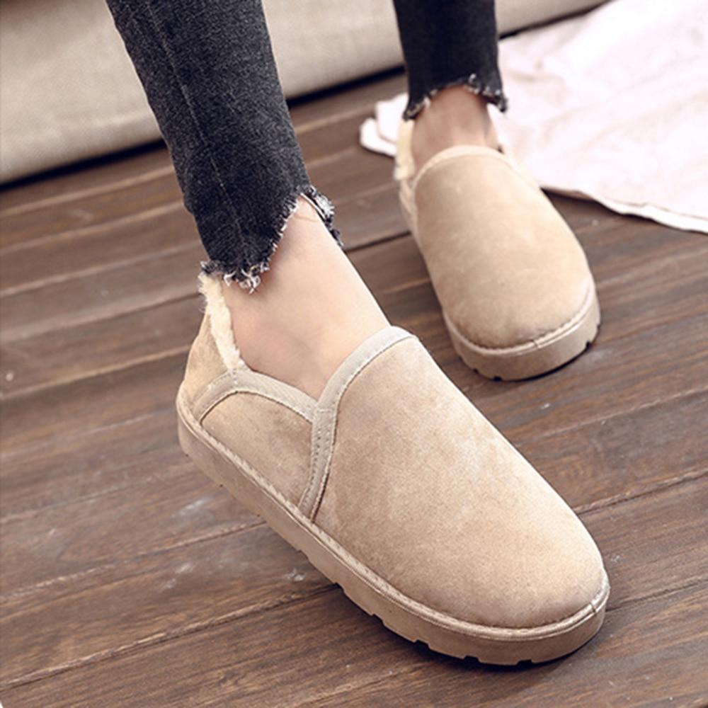 New Cowhide Leather +Plush Snow Boots Female Short Tube Korean Students Winter Plus Size 35-43 Velvet Cotton Shoes 2019 New