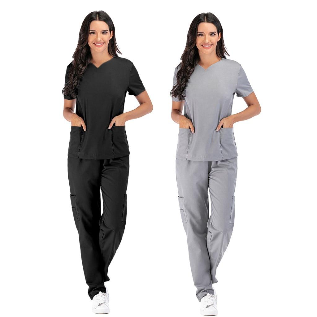 Men Women Short Sleeve V-neck Tops+pants Nursing Working Uniform Set Suit Nursing Working Uniform Set Suit Medical Uniform #R20