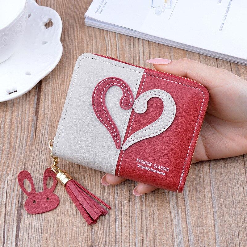 Leather Women Wallet Short Zipper Tassel Mini Wallet Women Coin Purse Female Card Holder Keychain Bag Small Wallets Carteira