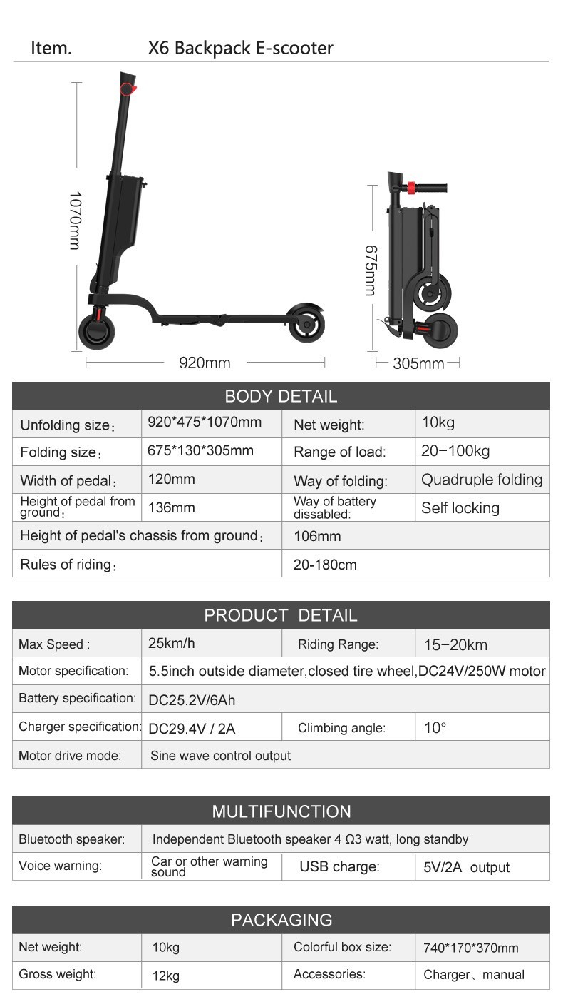 HX kick scooter smallest packing size save the shipping cost Bagpack Adult folding scooter Portable Folding Electric Scooter 12