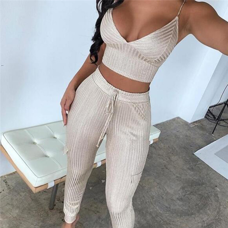 2020 Autumn New Women'S Fashion Sexy 2 Piece Two-Piece Set Sleeveless Bandage Long Pants Pocket Spring Club Party Set