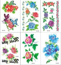 Red Rose Flower Temporary Tattoo Stickers for Men Women Arm Leg Heart Tatoo Paper Waterproof Body Art Heartbeat Arrow Tattoos(China)