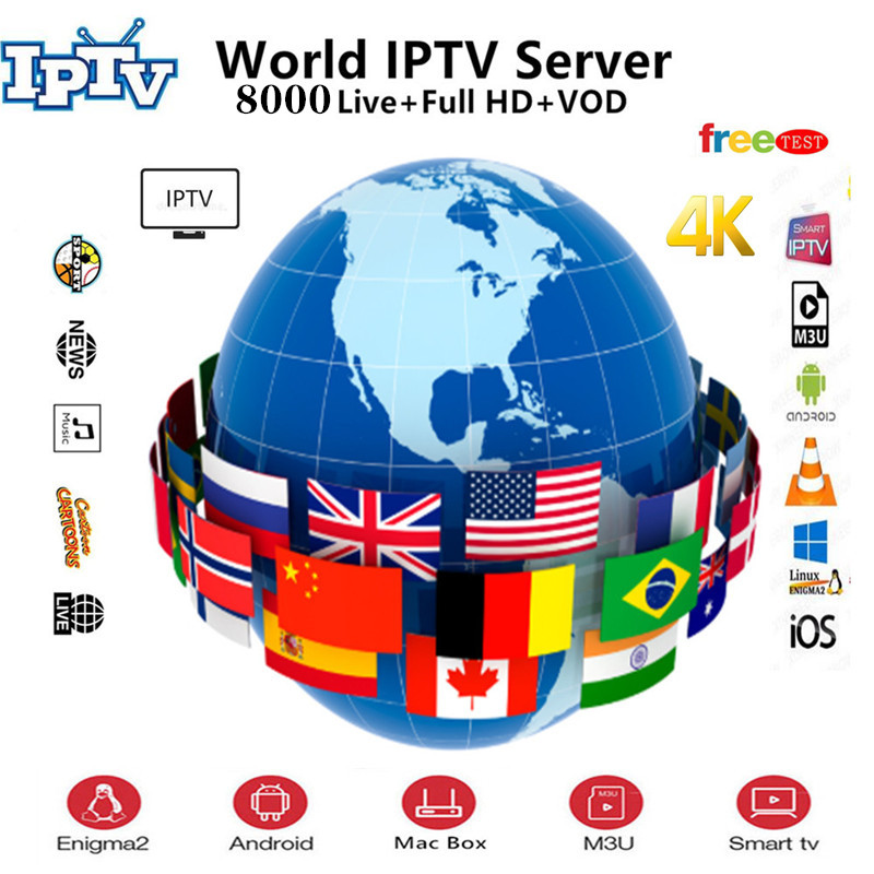 World IPTV Subscription 8000+Live&6000VOD 4K Android Tv French Dutch Spain Portugal Israel Arabic IPTV M3u Enigma2 Mag250