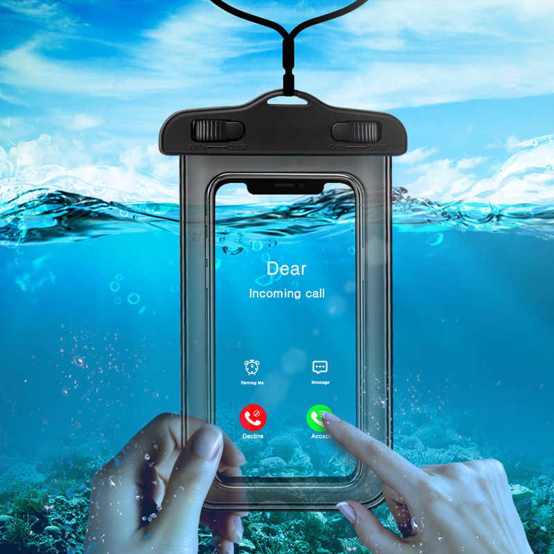 Lumineux universel étanche étui pour iphone X XS MAX 8 7 6 s 5 Plus housse pochette sac housses pour téléphone Coque Coque étanche