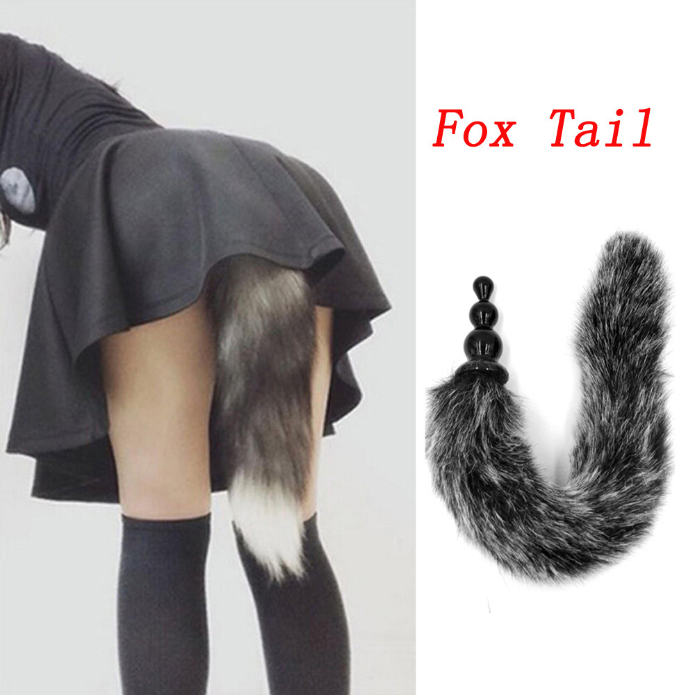 New Harmless TPR Anal Plug <font><b>Dog</b></font> Tail Fox Tail Butt Plug Vibrator Adult Erotic <font><b>Sex</b></font> Toys for Men/<font><b>Women</b></font> #J120 image