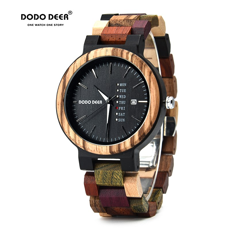 DODO DEER Wood Watch Men Women Wooden Watches Week Date Fashion WristWatches Clock Reloj Hombre Mujer OEM Dropshipping A22