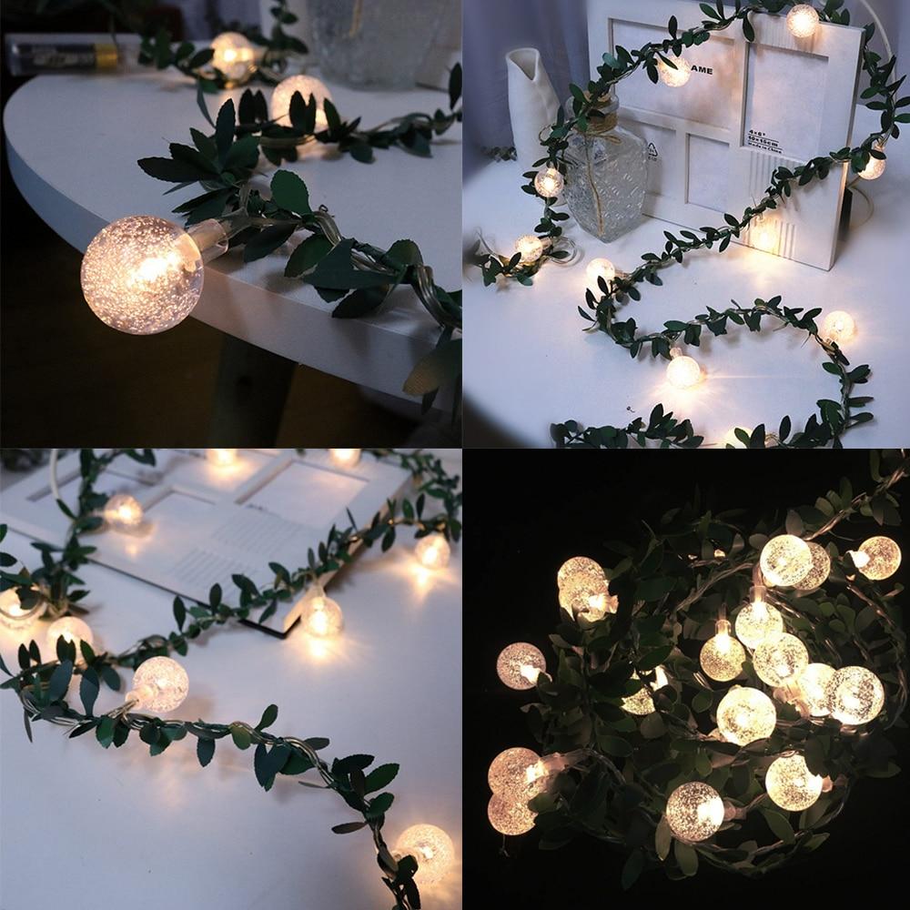 Leaf Battery String Fairy Christmas Lights Garden Porch 2m 20led Waterproof 5v