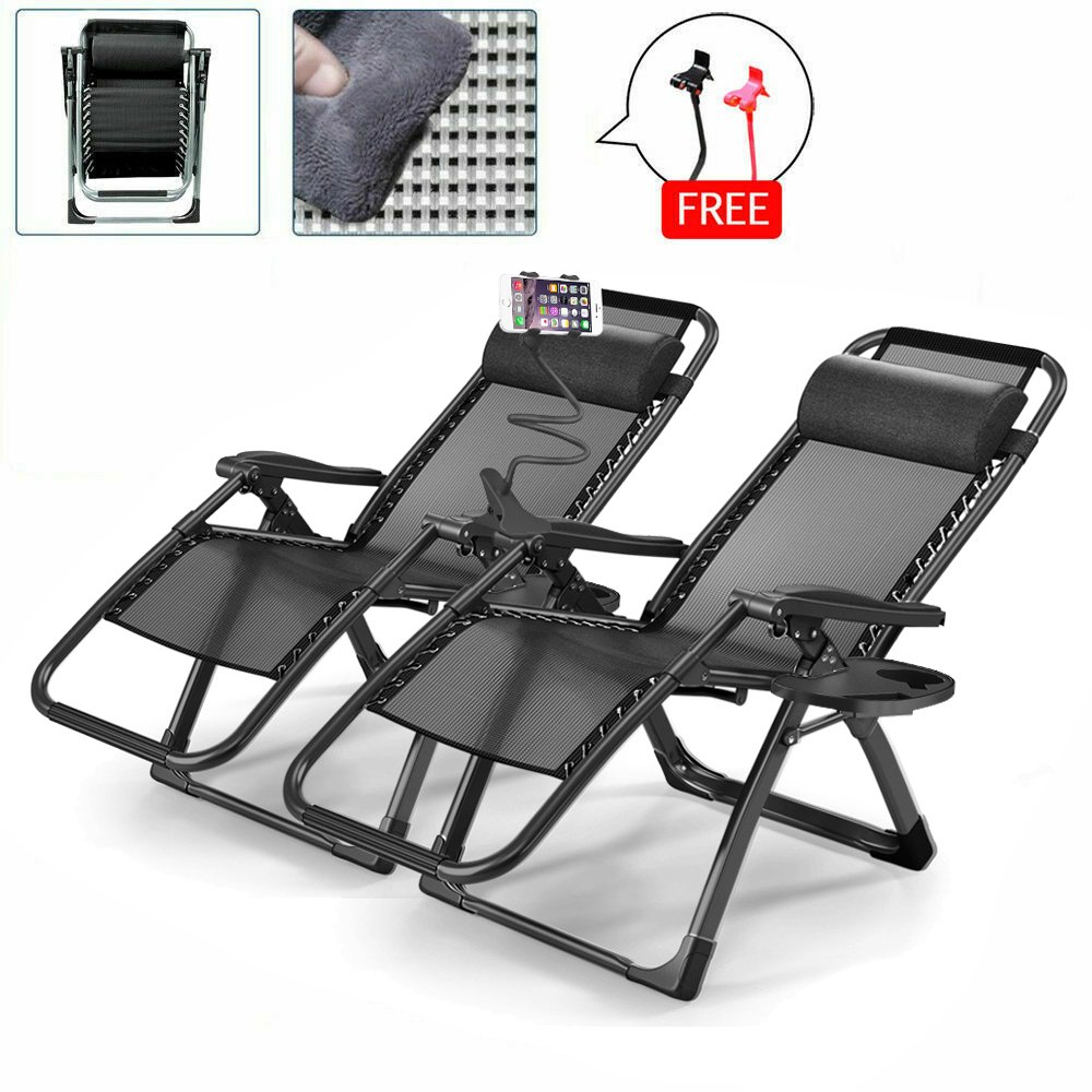 2PCS  Heavy Duty Zero Gravity Folding Lounge Beach Camping Chairs Square Frame+Holder