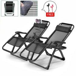 2X Heavy Duty Null Schwerkraft Folding Lounge Strand Camping Stühle Platz Rahmen + Halter