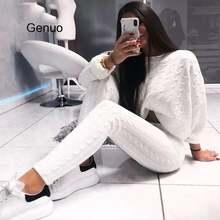 Зимний вязаный свитер Комбинезоны для женщин 2018 однотонные