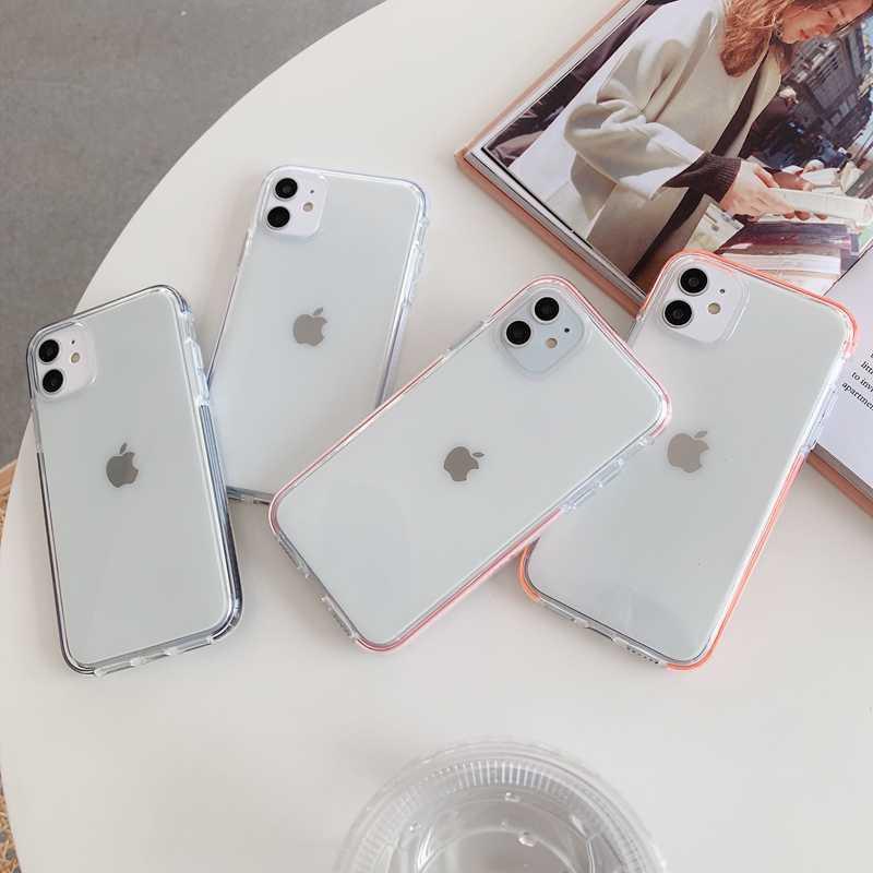 ICASSBY Transparan Tahan Guncangan Case untuk iPhone 11 Pro Max XR X Max 6 6S 7 7 Plus X SE 2020 Full Body Lembut TPU Telepon Kembali Penutup