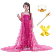 Kid Elsa Dress Princess Cosplay Costume Girl Clothing Anna Snow Queen Sequins Tulle Dress With Cloak Halloween Christmas Costume