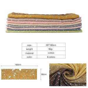 Image 4 - Ombre glitter wiskoza hidżab szalik szale gradientowe bawełniane szale muzułmańskie wrap pałąk 16 kolorowe szaliki/szalik 180*90cm