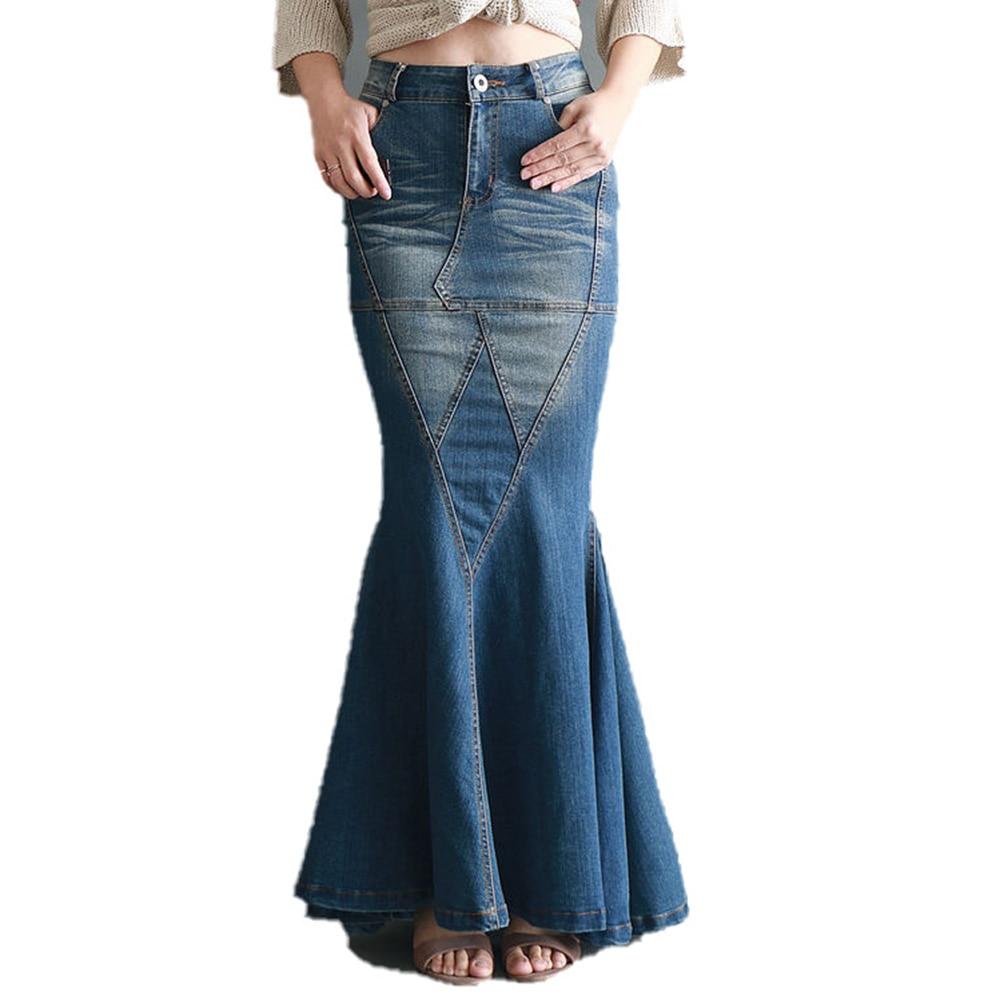 Sexy Bodycon Denim Skirt Women Vintage Long Skirts Elegant Blue High Waist Jeans Skirts Spring 2020 Maxi Casual Mermaid Pockets