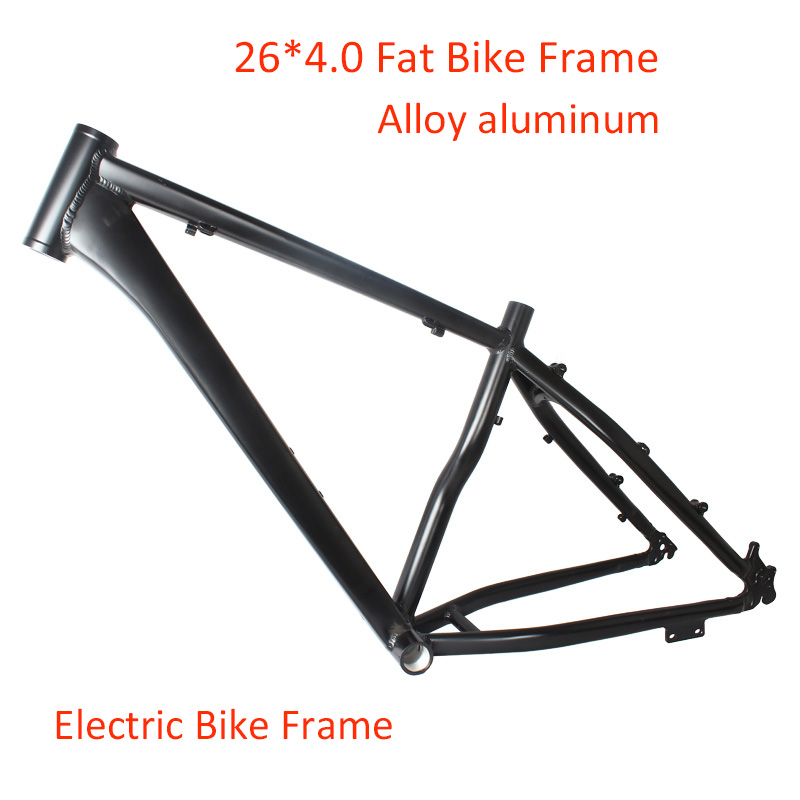 26*4.0 Alloy Aluminum Fat Bike Frame 18 Inches E-Bike Snow Bike Frameset  26er Carbon Black Bicycle Frame