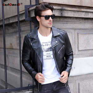 Image 3 - GustOmerD Brand 2019 Autumn Winter Casual Zipper PU Leather Jacket Motorcycle Leather Jacket Men Slim Fit Mens Jackets And Coats